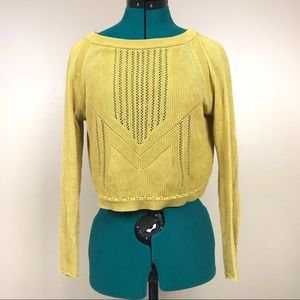 Free people mustard yellow oversized crop sweater